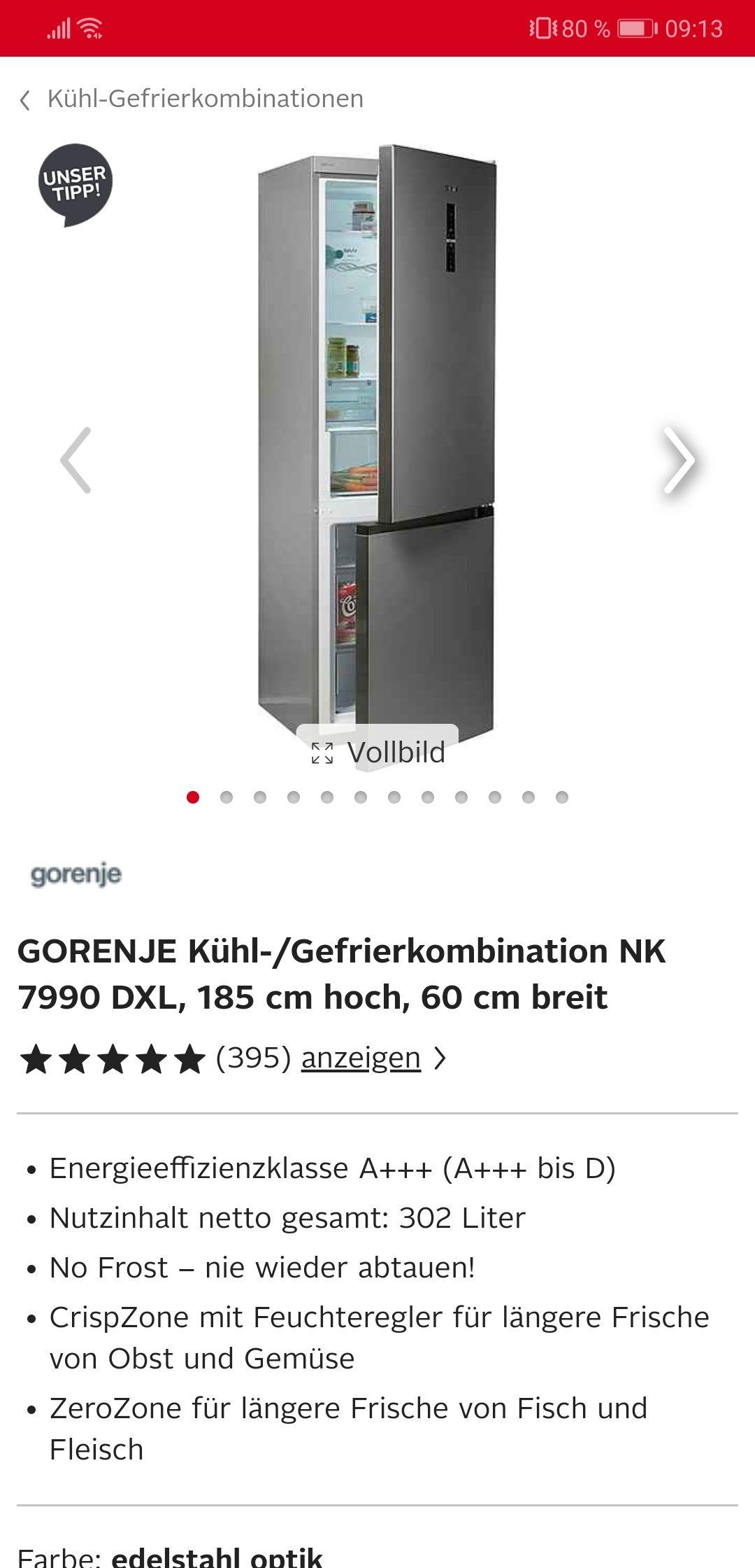 GORENJE Kühl-/Gefrierkombination NK 7990 DXL, 185 cm hoch, 60 cm breit