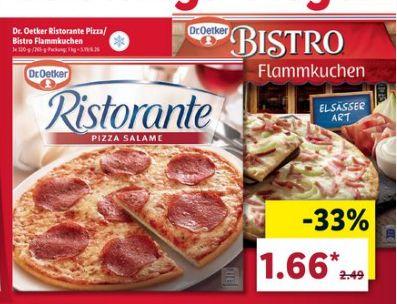 [Lidl ab 20.05] Dr.Oetker Ristorante Pizza oder Bistro Flammkuchen in verschiedenen Sorten und Größen für je nur 1,66€