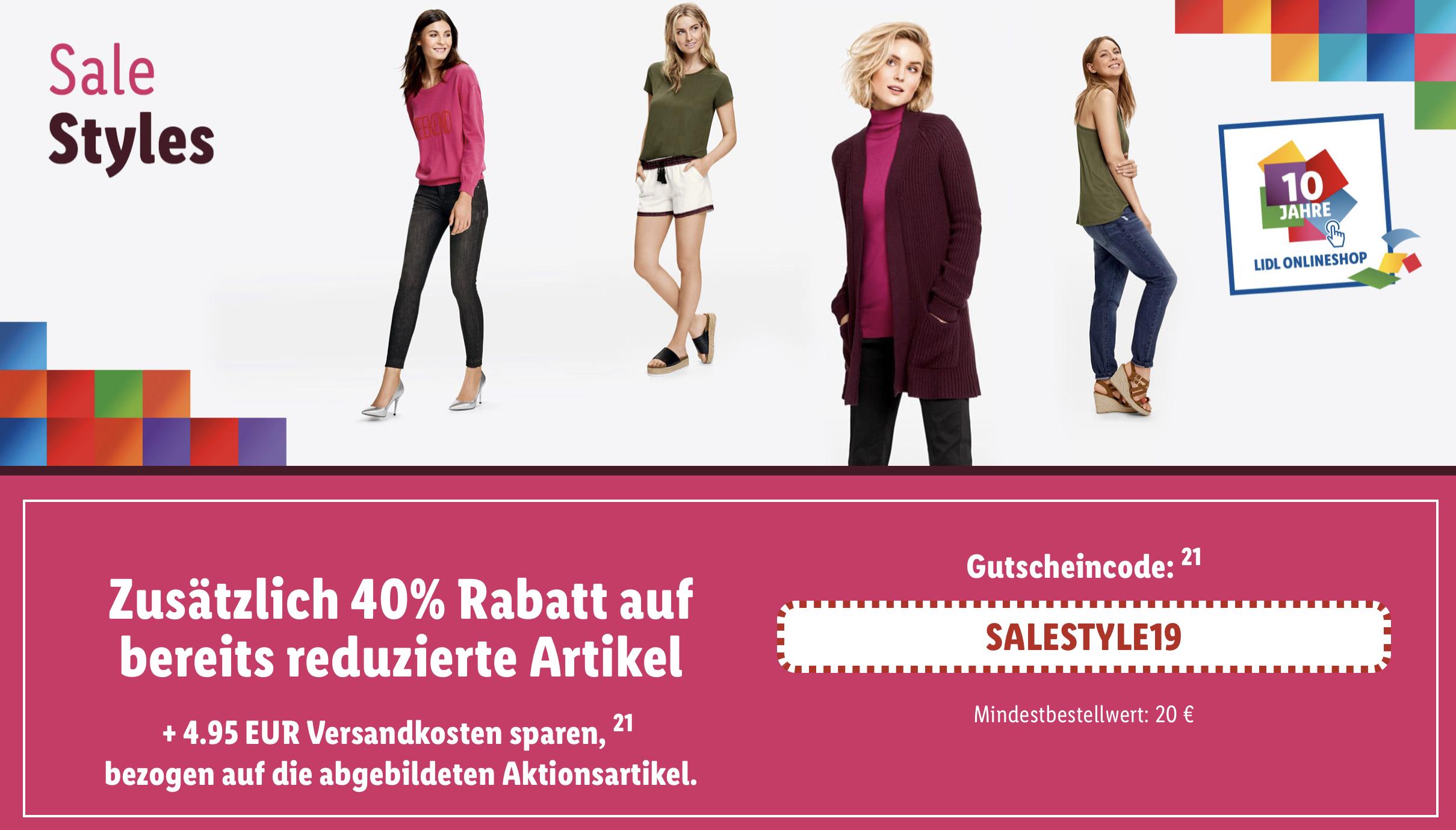 Kleiner Lidl Sale 40% Rabatt + versandkostenfrei ab 20€ - z.B. 4 Damenjeans für zusammen 14,36€ oder Lederjacke 17,99€ inkl. Versandkosten!