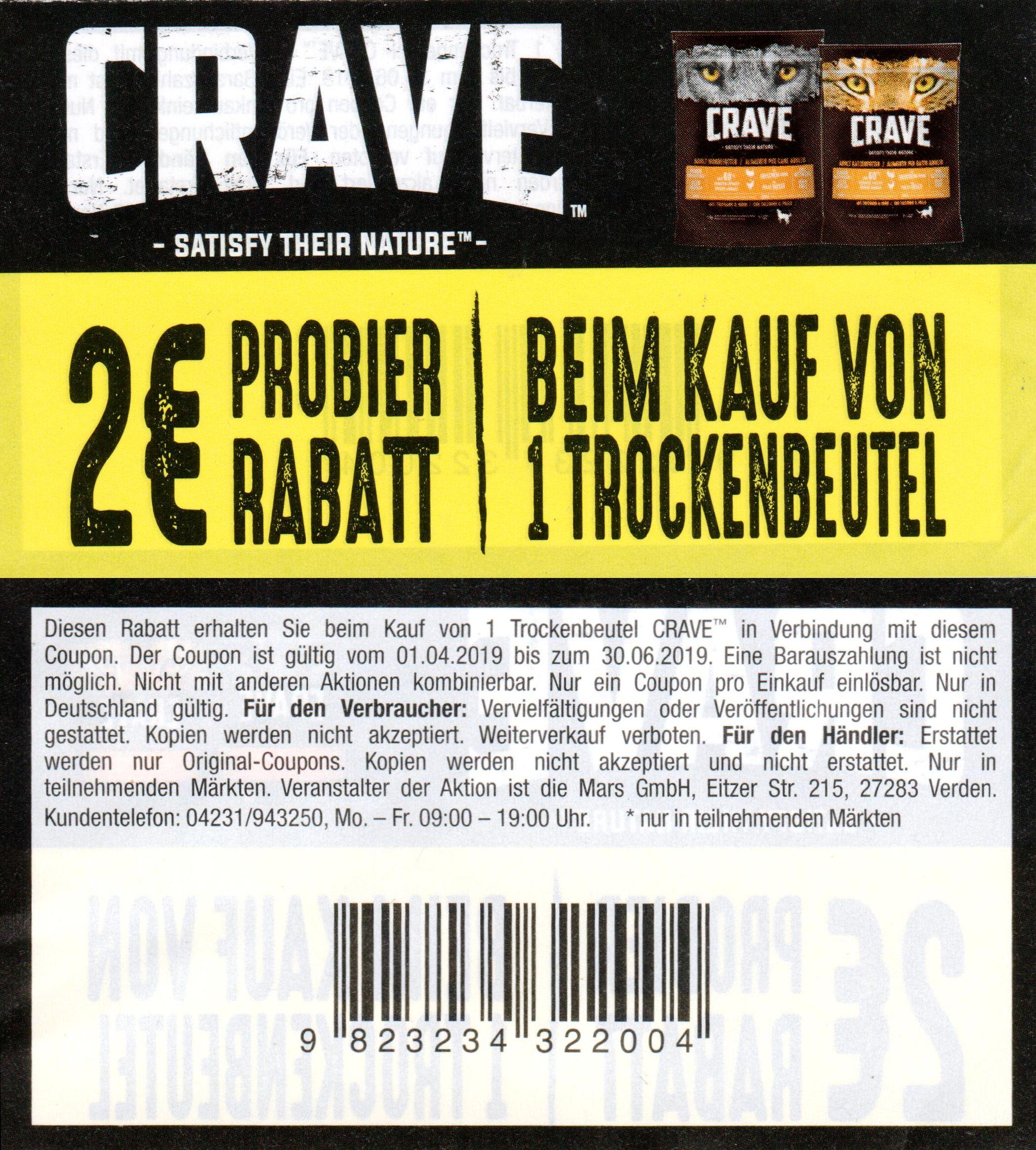 2€ Sofort-Rabatt Coupon für den Kauf eines CRAVE Trockenbeutels bis 30.06.2019