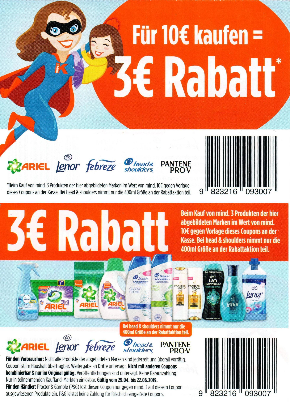 3€ Sofort-Rabatt Coupon für den Kauf v. Ariel/Febreze/Head&Shoulders/Lenor/Pantene Pro-V Produkten im Wert von 10€ bei Kaufland [22.06.2019]
