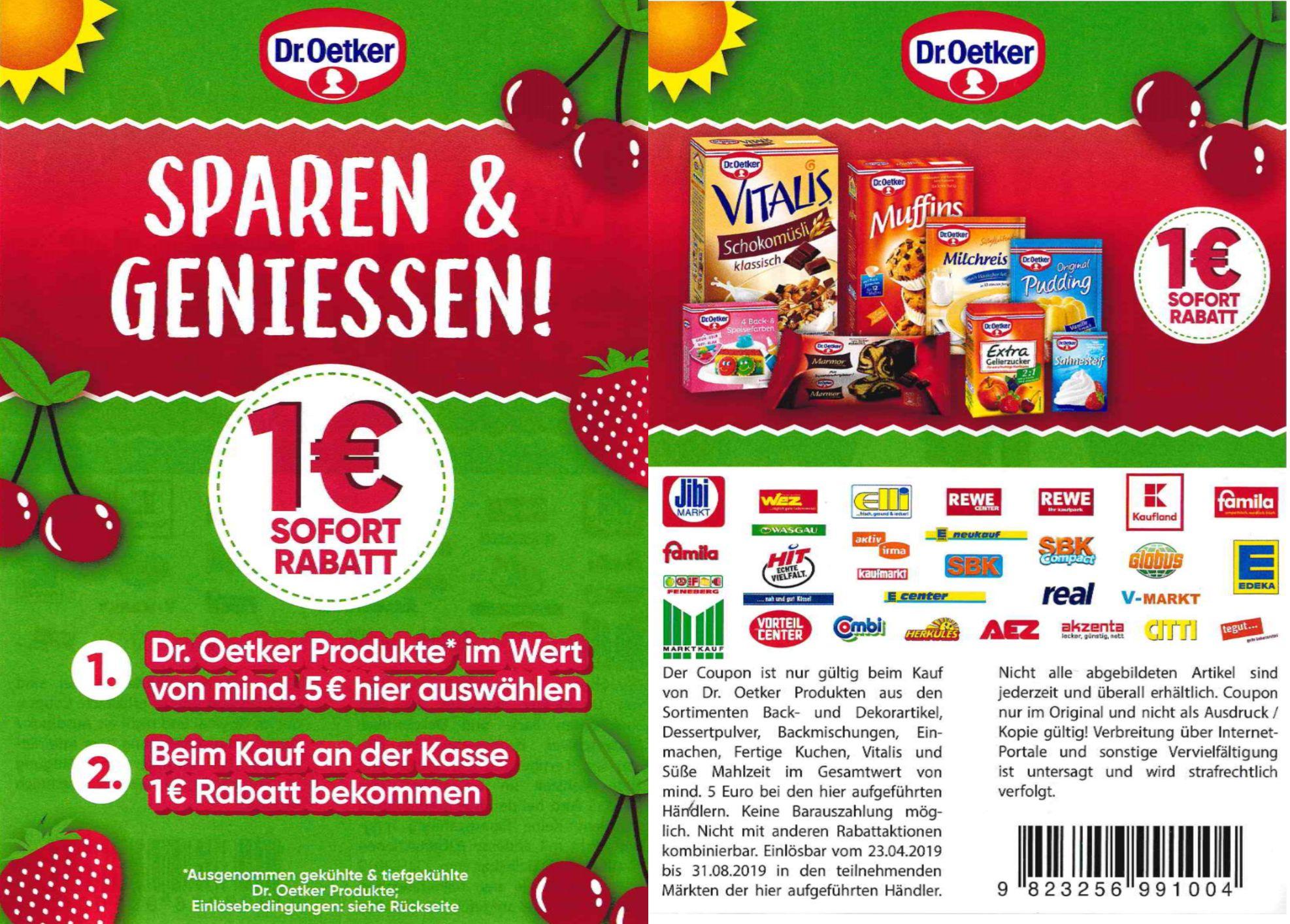 1,00€ Sofort-Rabatt Coupon für den Kauf von Dr. Oekter Produkten im Wert von 5,00€ bis 31.08.2019