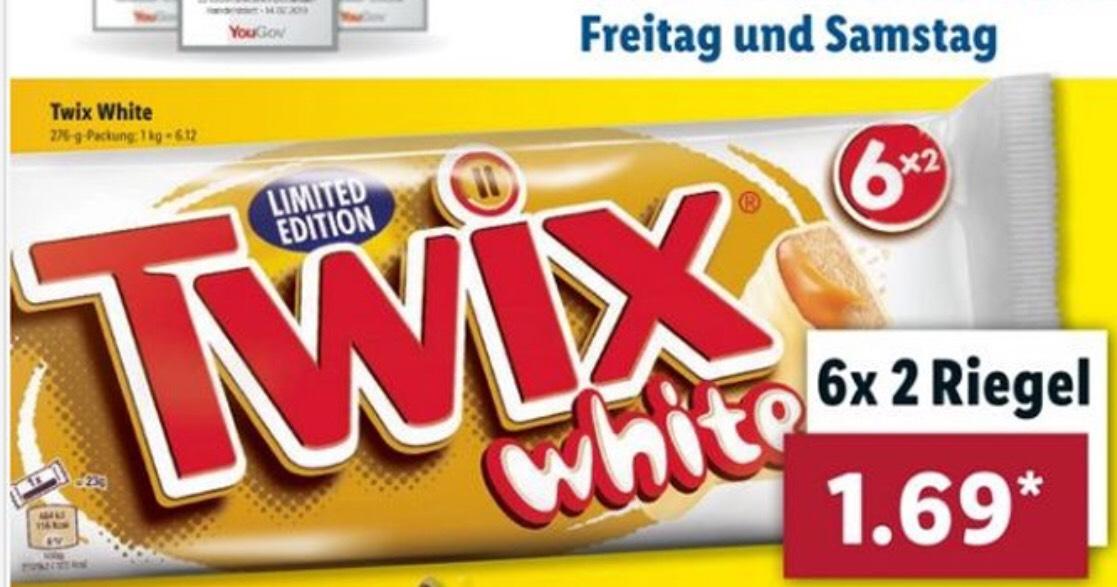 Lidl ab Freitag 24.05.19 TWIX White Limited Edition mit weißer Schokolade und 6x2 Riegeln