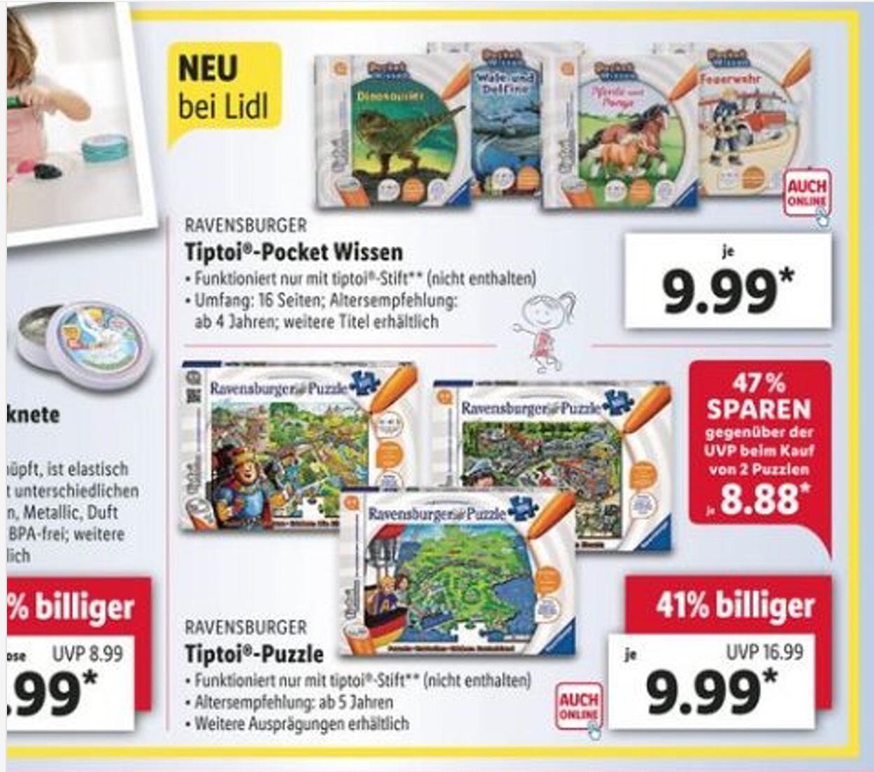 Ab Montag 20.05.19 gibt es im Lidl Tiptoi Ravensburger Puzzle und Pocket Wissen für 9,99€ und Spiele für 11,99€ im Angebot