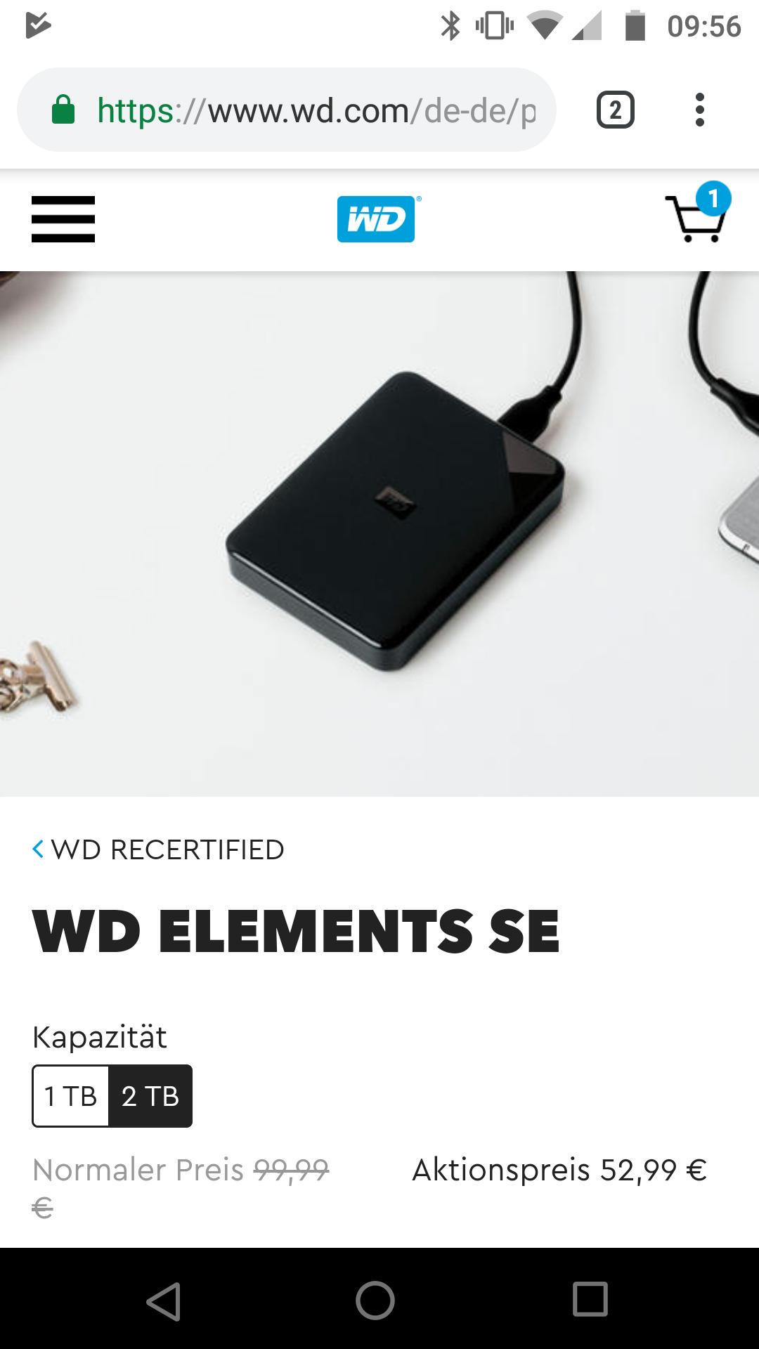 WD Elements SE 2TB Western Digital Recertified + 12% Shoop externe Festplatte