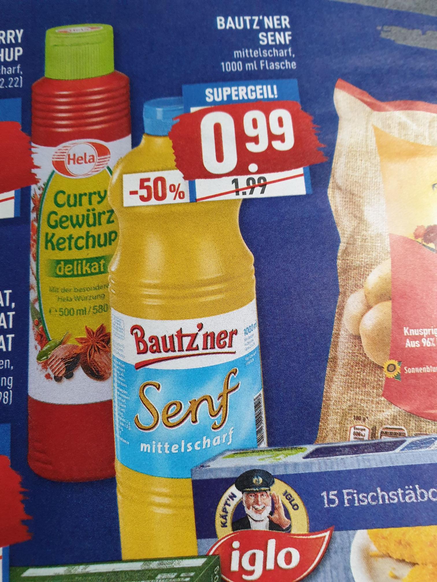 (Marktkauf)  Bautz'ner Senf mittelscharf 1000ml für 0,99€ (lokal nrw)