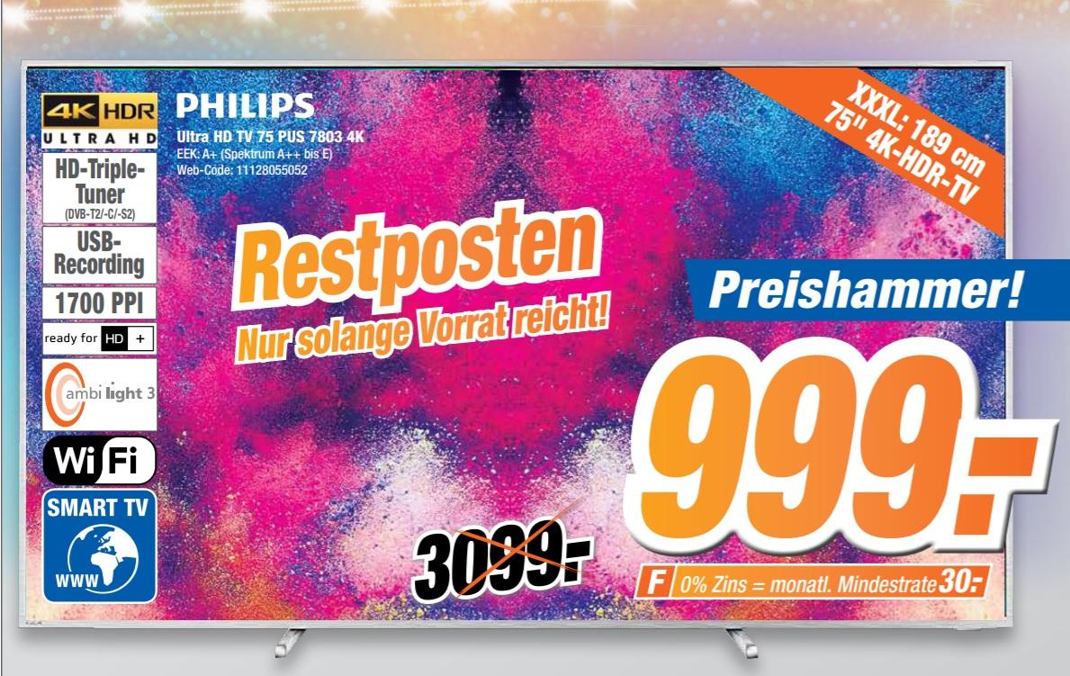 [lokal expert klein] Philips 75PUS7803/12 75 Zoll, LED TV (Ambilight, 4K Ultra HD, Triple Tuner, Smart TV) [EEK: A+]