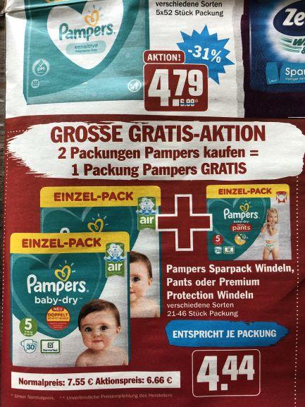 [HIT] Pampers baby-dry/Premium Protection 3x Einzelpack für insg. 9,32€ (besser als Rossmann!)
