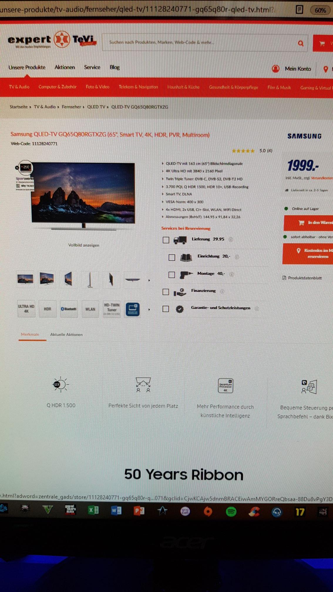 Samsung GQ65Q80 für 2039 inkl Versand bei expert