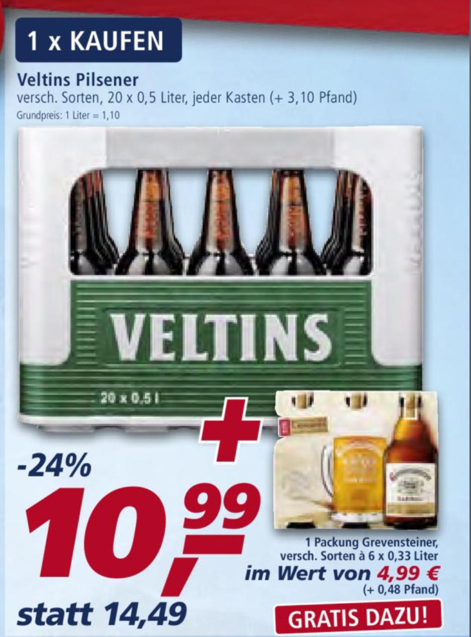 [Ab 13.05] [Real,-] 1 Kiste Veltins für 10,99€+ 6er Träger Grevensteiner Gratis (exkl. Pfand)