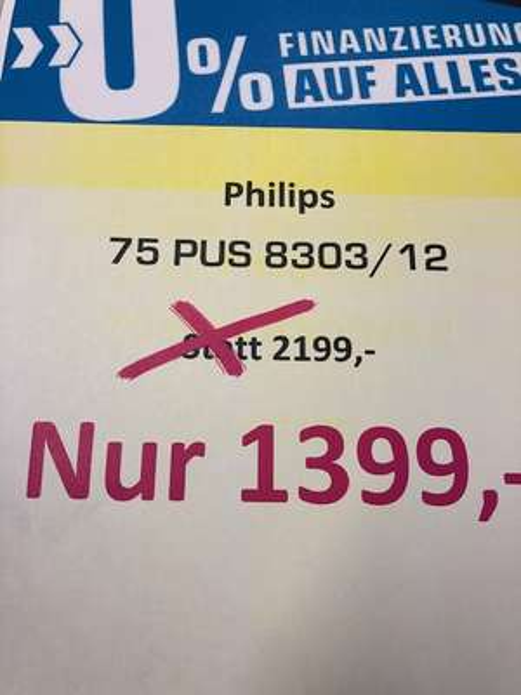 (LOKAL SATURN BOCHUM) Philips 75PUS8303/12 o. Philips 65PUS7383 zu 777,- BUNDESWEITER VERSAND 39,-