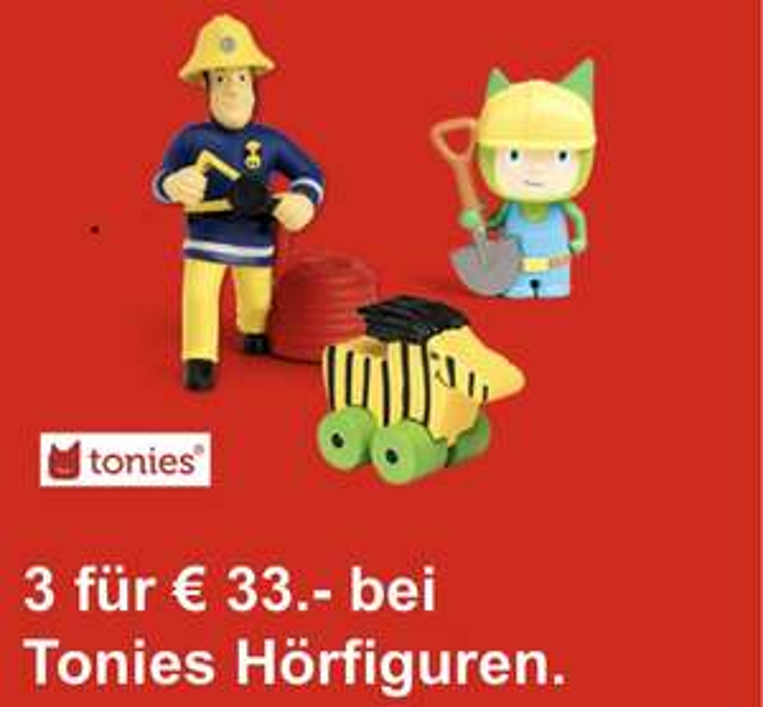 MediaMarkt: 3 Tonies Figuren fürs 34,99 oder bei Marktabholung 33 Euro