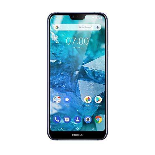 Nokia 7.1 Smartphone (15,38 cm (5,84 Zoll) Full HD Display, 32 GB Speicher, 3 GB RAM, Dual Sim, inkl. Walther Schlüsselbundlampe) blau