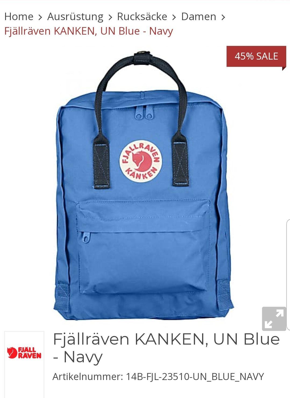 Fjällräven Kånken - 16 Liter Rucksack in Un Blue für 52,35€ inkl Vsk