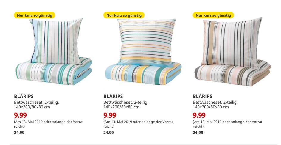 (IKEA Bremerhaven am 13.05.) BLÅRIPS Bettwäscheset 2-teilig 140x200/80x80 cm verschiedene Farben