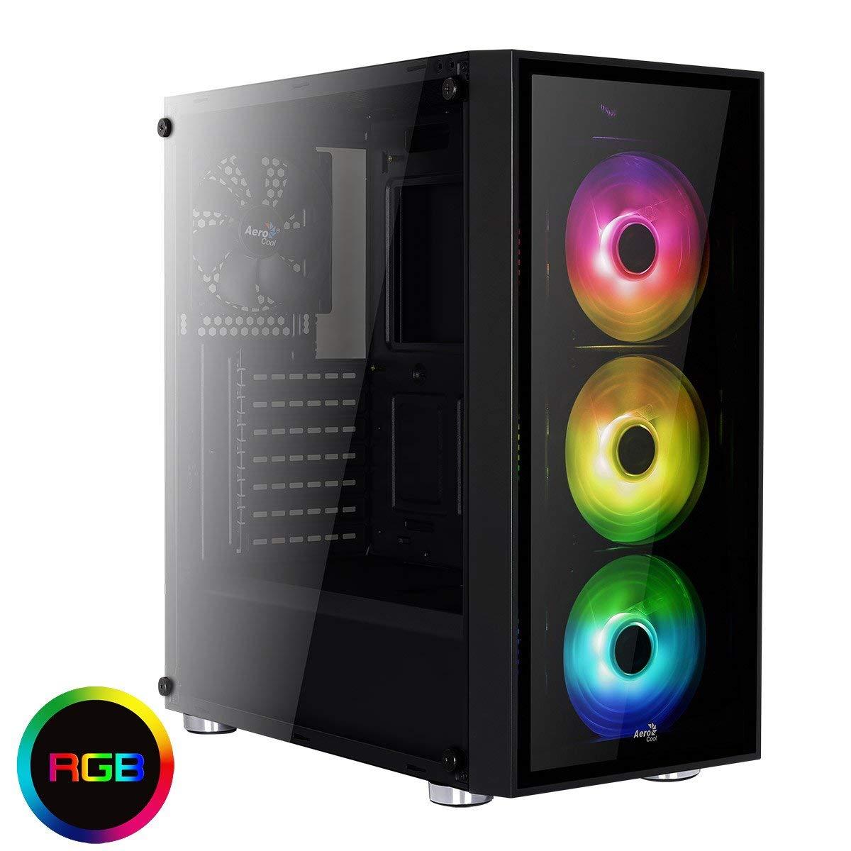 Aerocool Quartz - Tower, ATX, 2 Platten aus Hartglas, RGB , 7 Erweiterungssteckplätze, inkl. 3x 12 cm LED Lüfter vorne , USB 3.0 - Schwarz