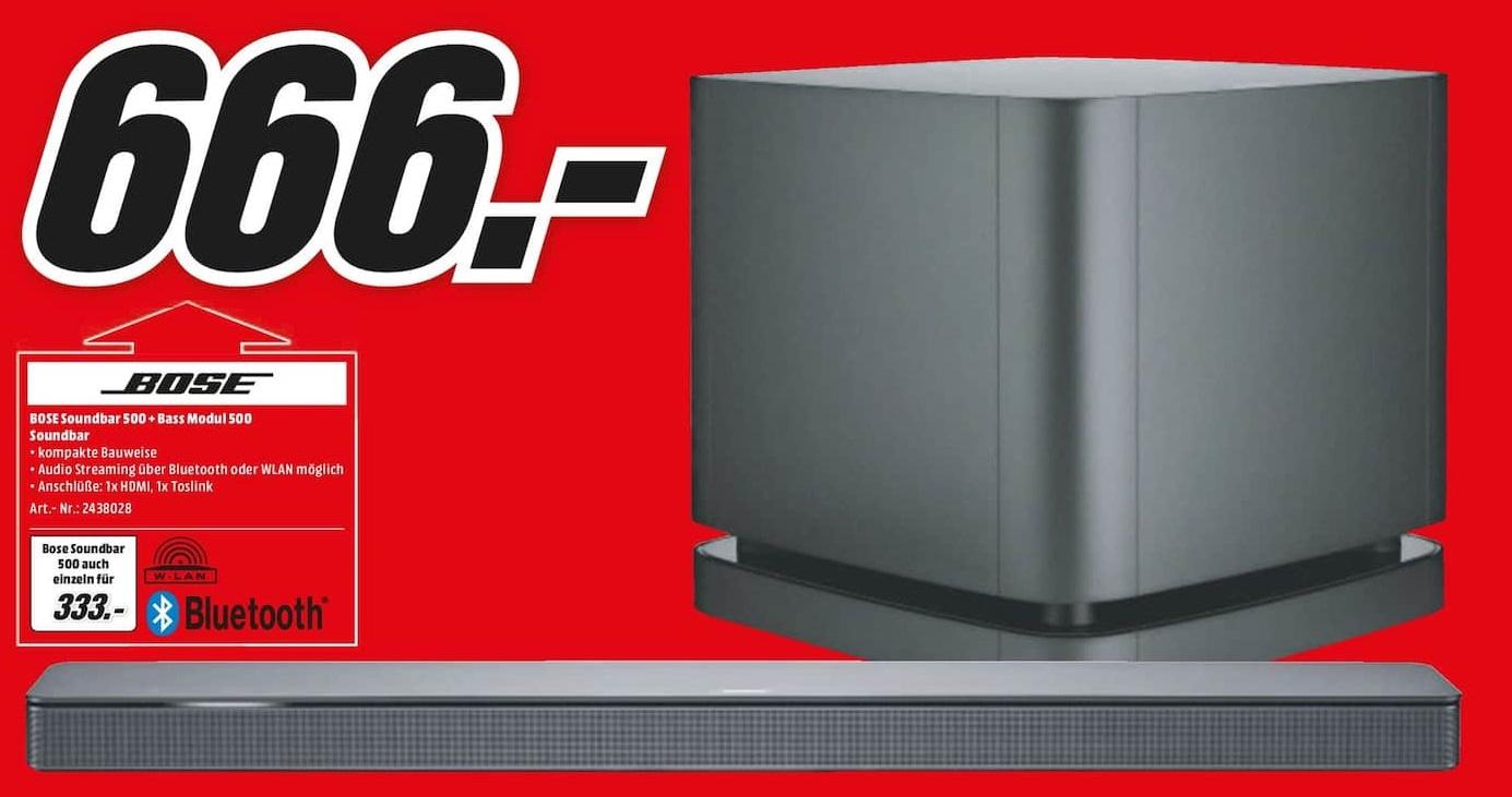 [Lokal: Media Markt Gifhorn & Wolfsburg] Bose Soundbar 500 + Bass Module 500   Bose Soundbar 500 für 333€    Tefal OptiGrill GC702D für 77€