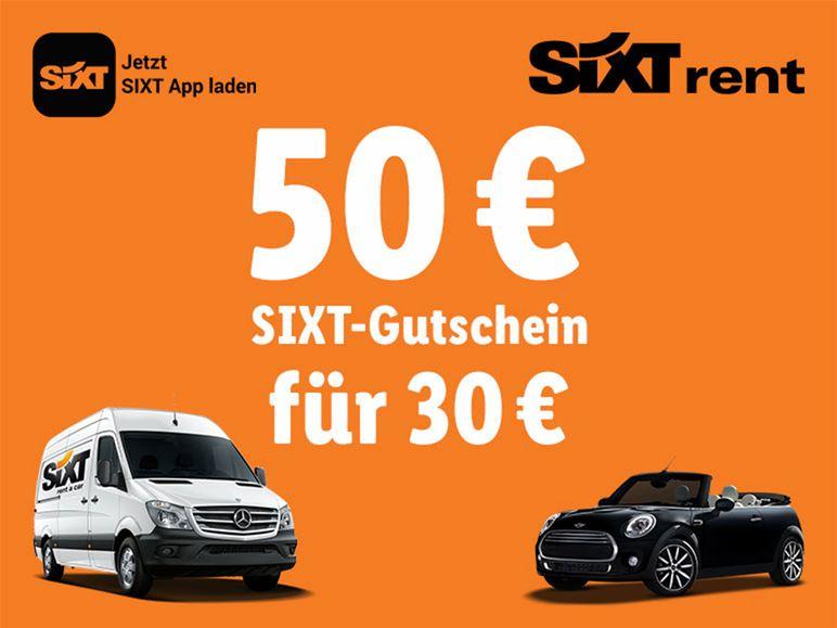 Sixt Gutschein 50€ für 30€ bei Lidl (3 Tage Mindestmiete)