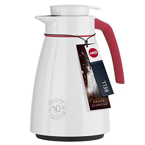 [Amazon] Emsa 513808 Isolierkanne Bell, 1 Liter, Aroma Diamond Kolben aus Glas, Quick Tipp Verschluss, Weiß-Pink