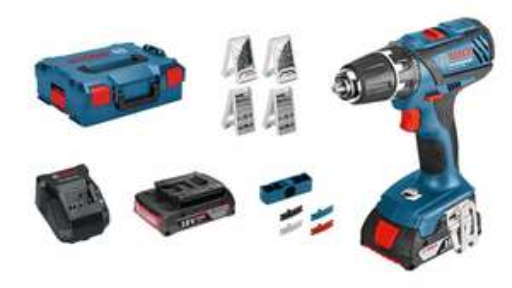 Bosch Professional Akkuschrauber GSR 18-2-LI Plus (2x 2,0 Ah Akku, 18 Volt, 63-tlg. Zubehörset, in L-BOXX) [Amazon]