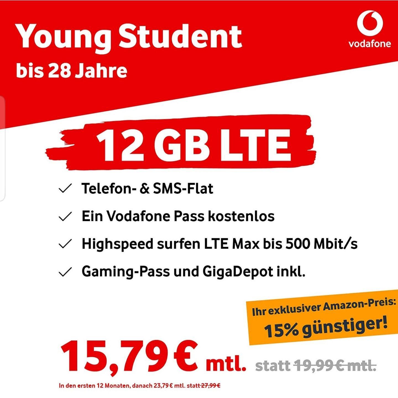 Vodafone Young M mit 12GB 15% günstiger