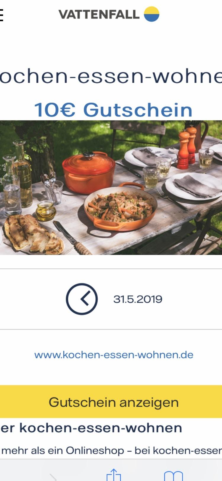 10€ Gutschein für Küchenhelfer bei 40€ MBW über Vattenfall