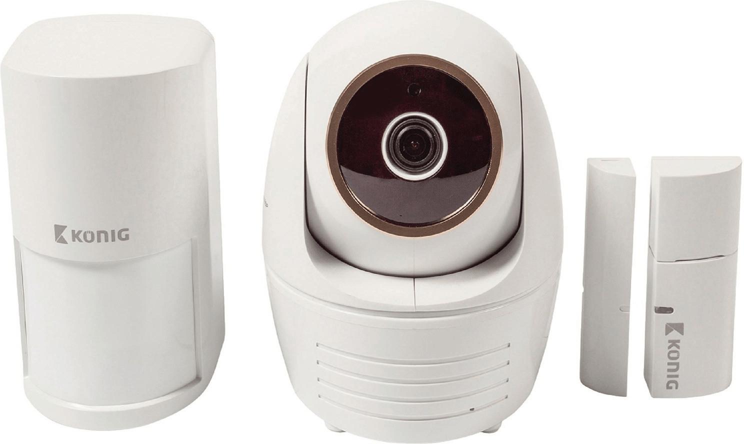 König SAS-SETIPC011W WLAN IP Überwachungskamera-Set (Full HD-Kamera mit Nachtsicht, PIR-Bewegungssensor, Tür-/Fenstersensor)