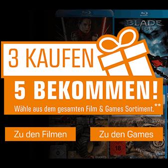 3 Kaufen + 2 geschenkt auf das gesamte Film & Games Sortiment [Saturn]