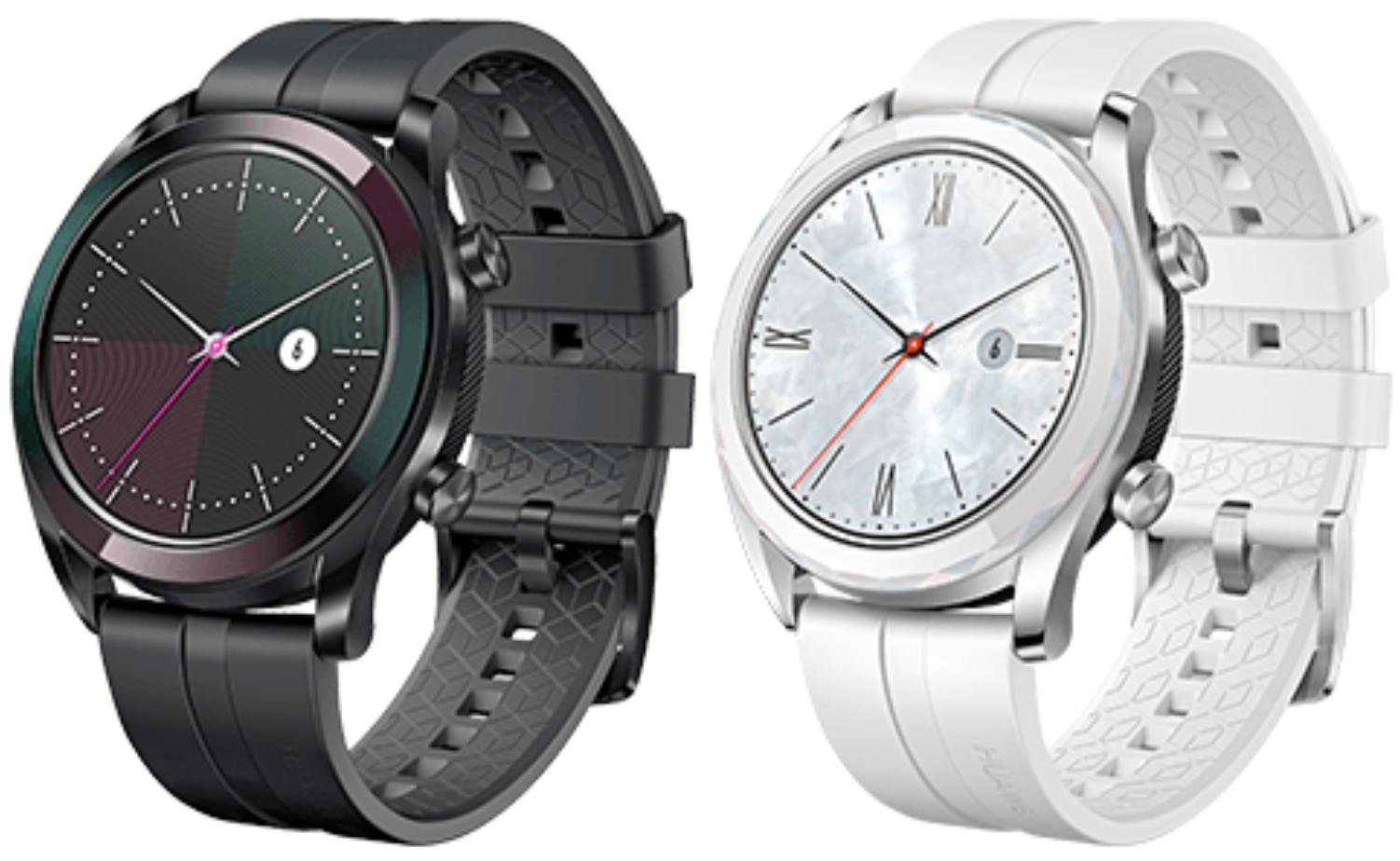 HUAWEI Watch GT Elegant 2019 Smartwatch GPS Fitness Tracker Herzfrequenzmessung 5 ATM wasserdicht schwarz o. weiss für 189€ inkl. Versand