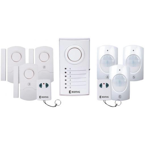 Drahtloses Alarmsystem König SAS-ALARM120 (Zentrale mit 100dB-Sirene und LEDs, 3 Tür-/Fenstersensoren, 3 PIR-Sensoren, 2 Fernbedienungen)