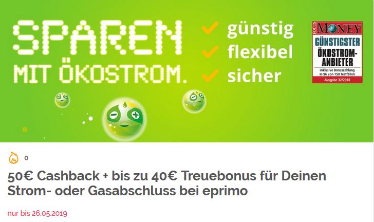 Eprimo, Gas oder Strom wechseln und 50€ Cashback bei Shoop mitnehmen