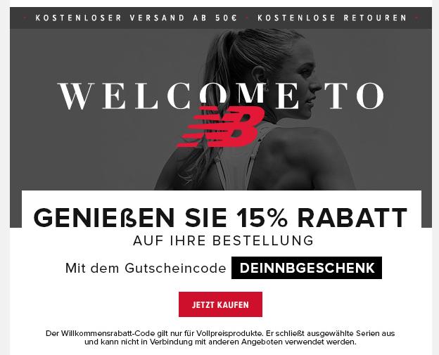 [Online] Newsletter 15% Rabatt Gutschein auf New Balance
