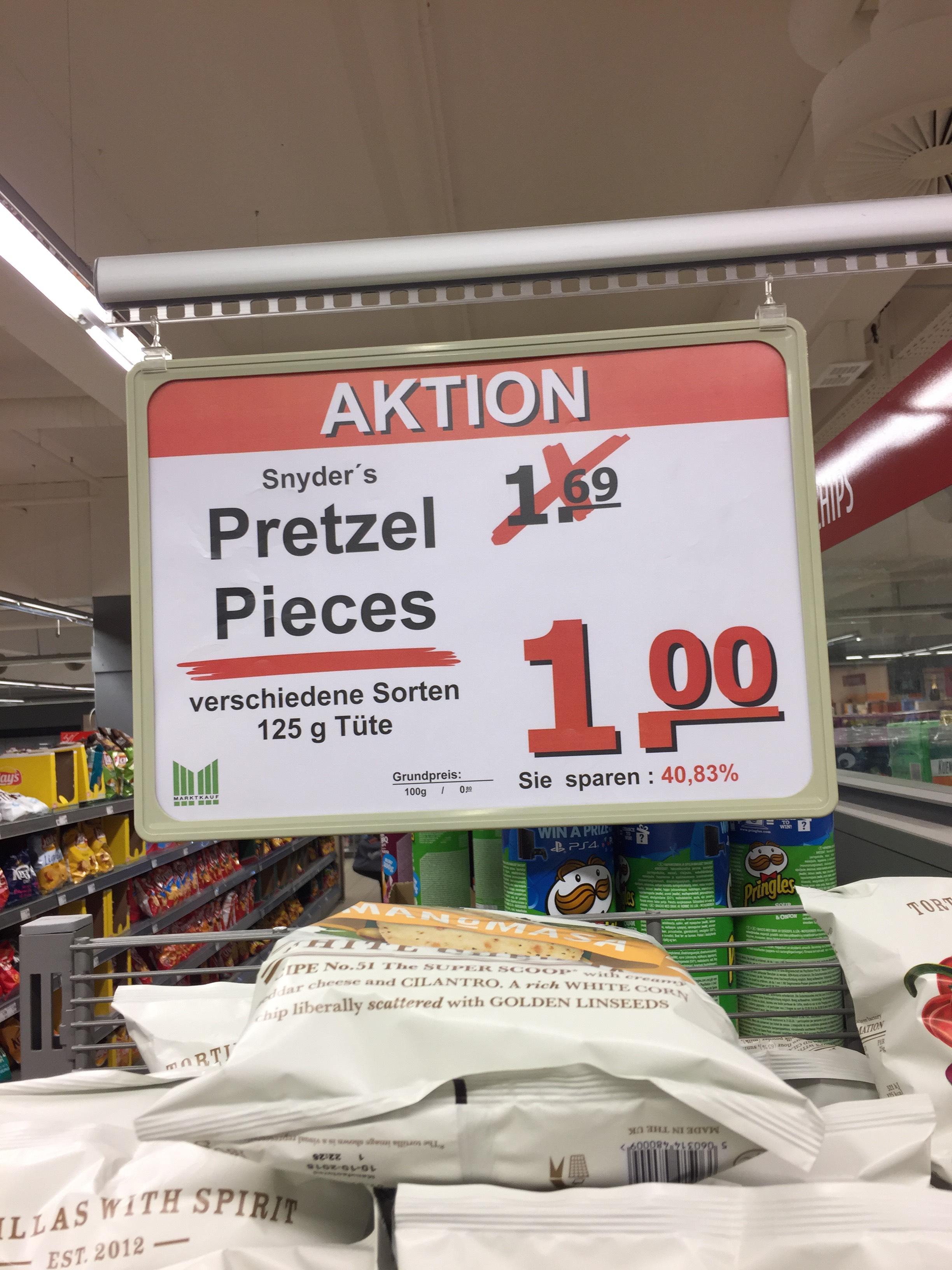 [Marktkauf Hamburg Bergedorf] Snyder´s Pretzel Pieces versch. Sorten für 1,00€ im Angebot