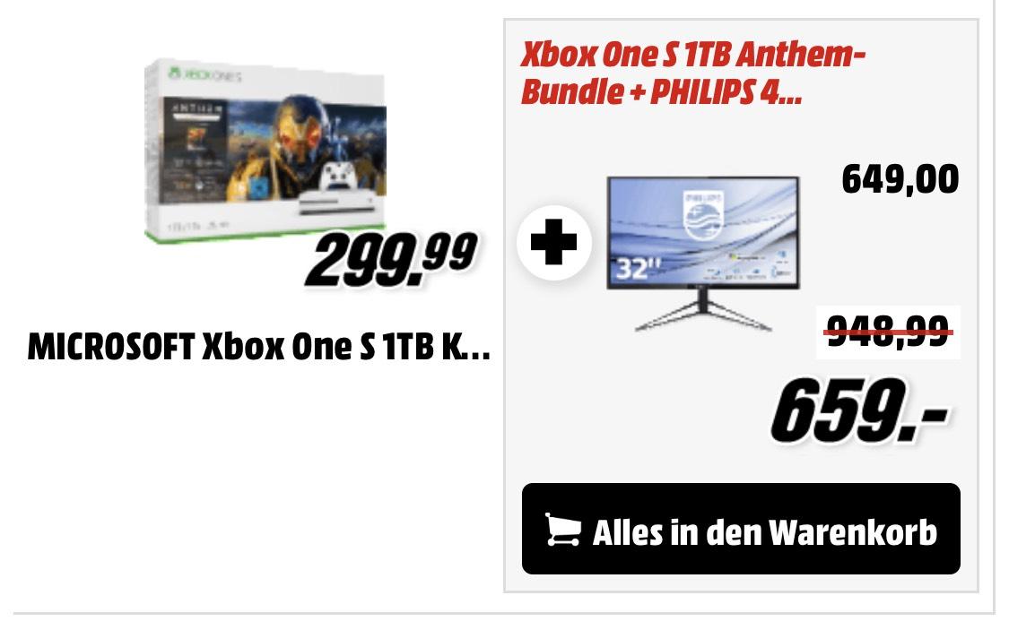 Xbox One S Anthem Bundle + Philips 326M6 4K HDR Monitor