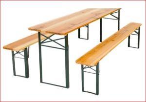 3-teilige Bierzelt-Garnitur mit Tisch (50 cm x 220 cm) und 2 Bänke (220 cm) für 59,99 Euro [Jawoll- / b&m-Markt]