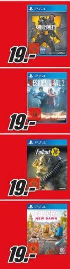 [Regional Mediamarkt Nienburg] COD Black Ops 4 (Playstation 4]) /Resident Evil 2-Remake (Playstation 4) /Far Cry:New Dawn (PS4) für je 19,-€