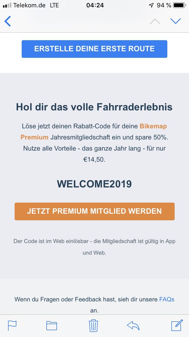 Bikemap Jahresmitgliedschaft für 14,50€