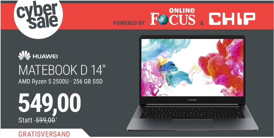 """[Cybersale] HUAWEI MateBook D 14"""" FHD IPS Ryzen 2500U 8GB/256GB SSD - ohne NL Gutschein (begrenzte Stückzahl)"""
