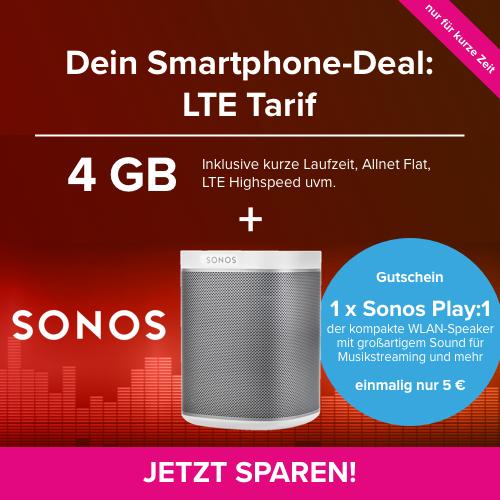 4GB LTE-Tarif für mtl. 14,99€ + Sonos Play:1 für 25€ Zuzahlung (6 Monate MVLZ, Telefonica-Netz, Freiminuten ins EU-Ausland, Festnetznummer)