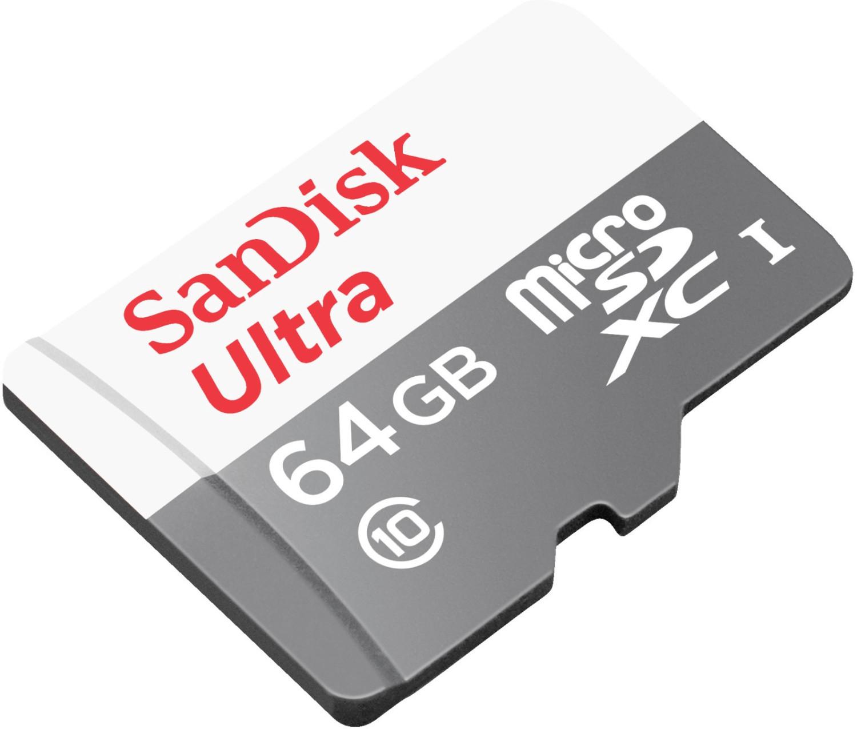 SanDisk Ultra microSDXC 64GB (80 MB/s Lesen, mit SD-Adapter, 10 Jahre Garantie)