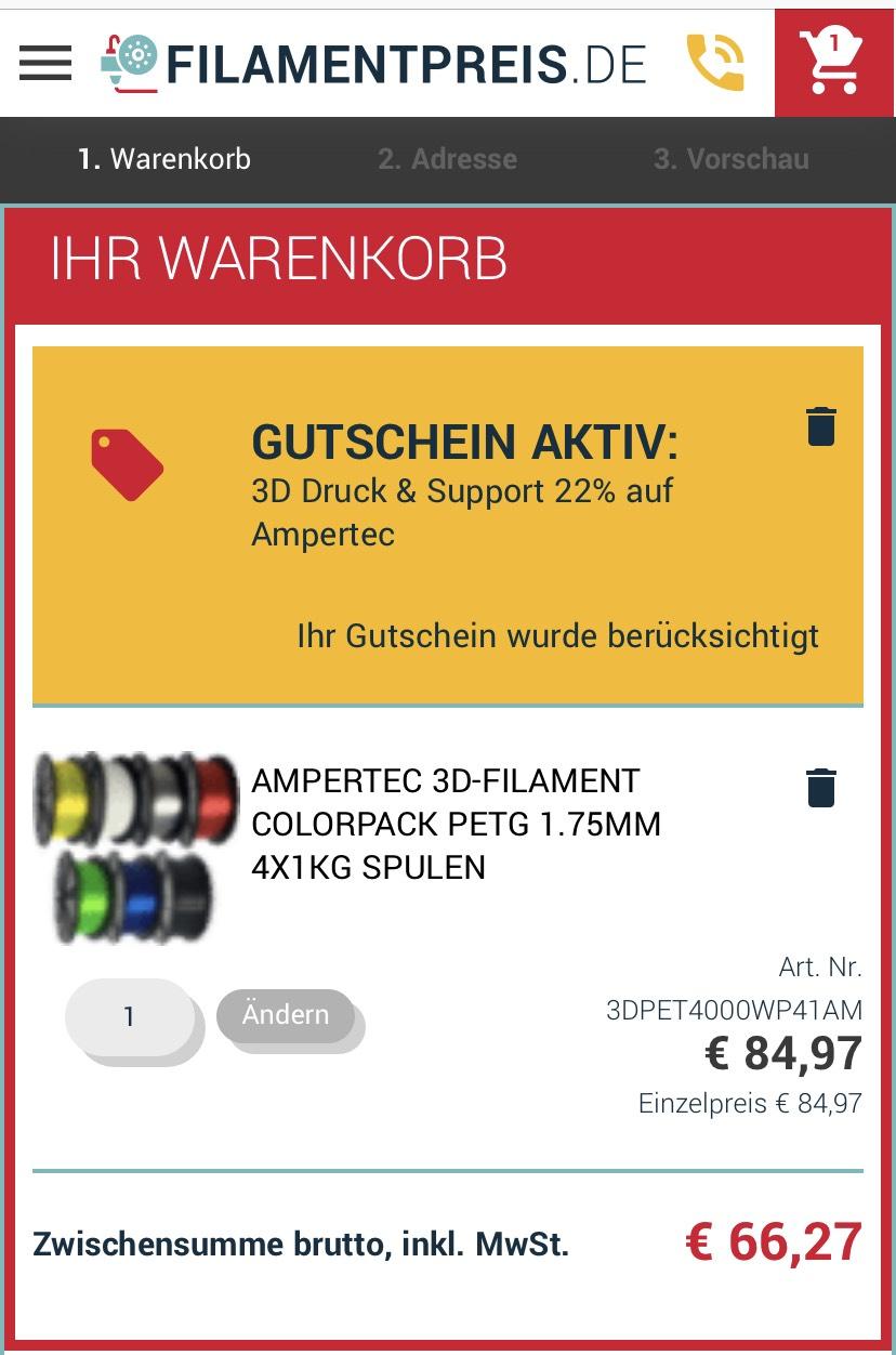 4kg Ampertec PETG Filament mit freier Farbwahl - 71,21€ inkl. Versand