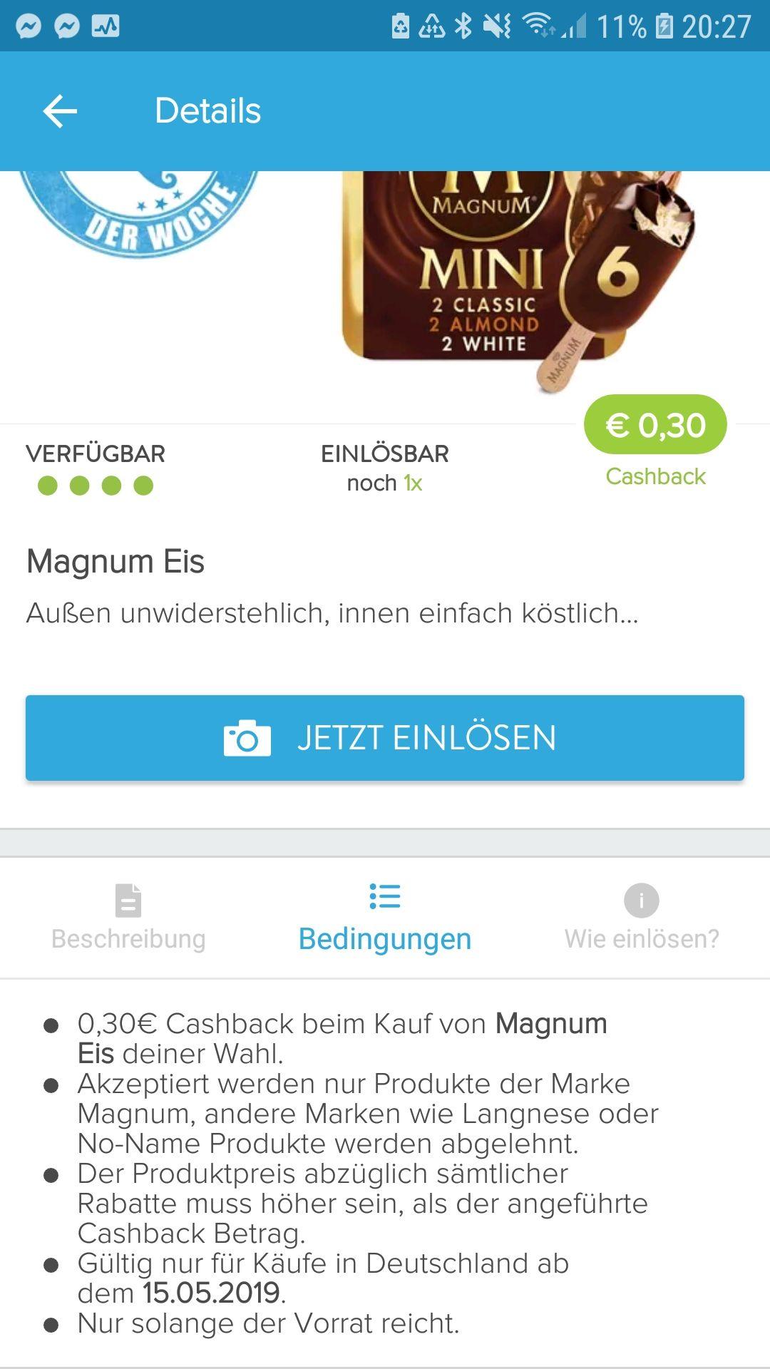 0,30€ Cashback auf Magnum Eis mit Marktguru App (zB dann 1,69€ für Magnum Mini bei Real bis zum 18.05.)