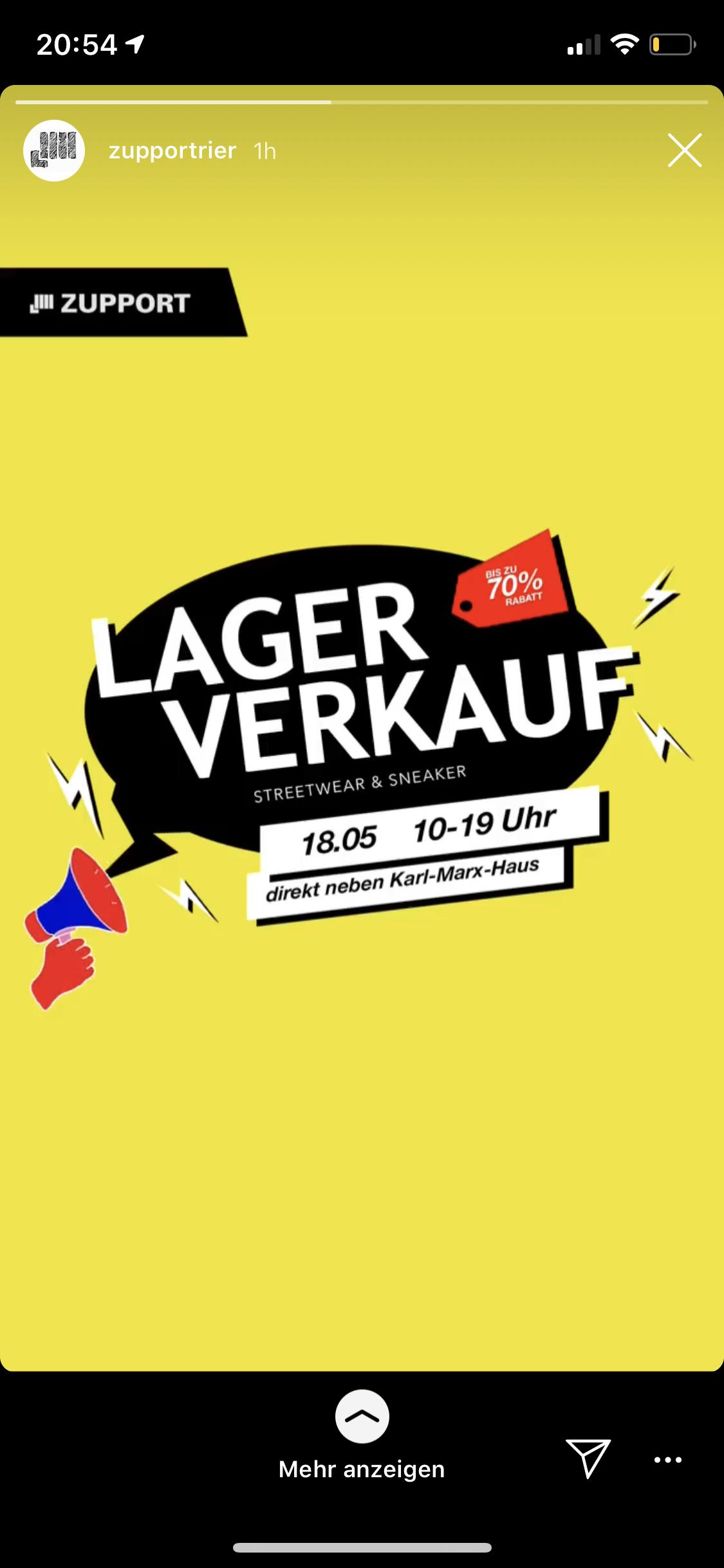Lagerverkauf - Bis zu 70% Rabatt bei ZUPPORT in Trier