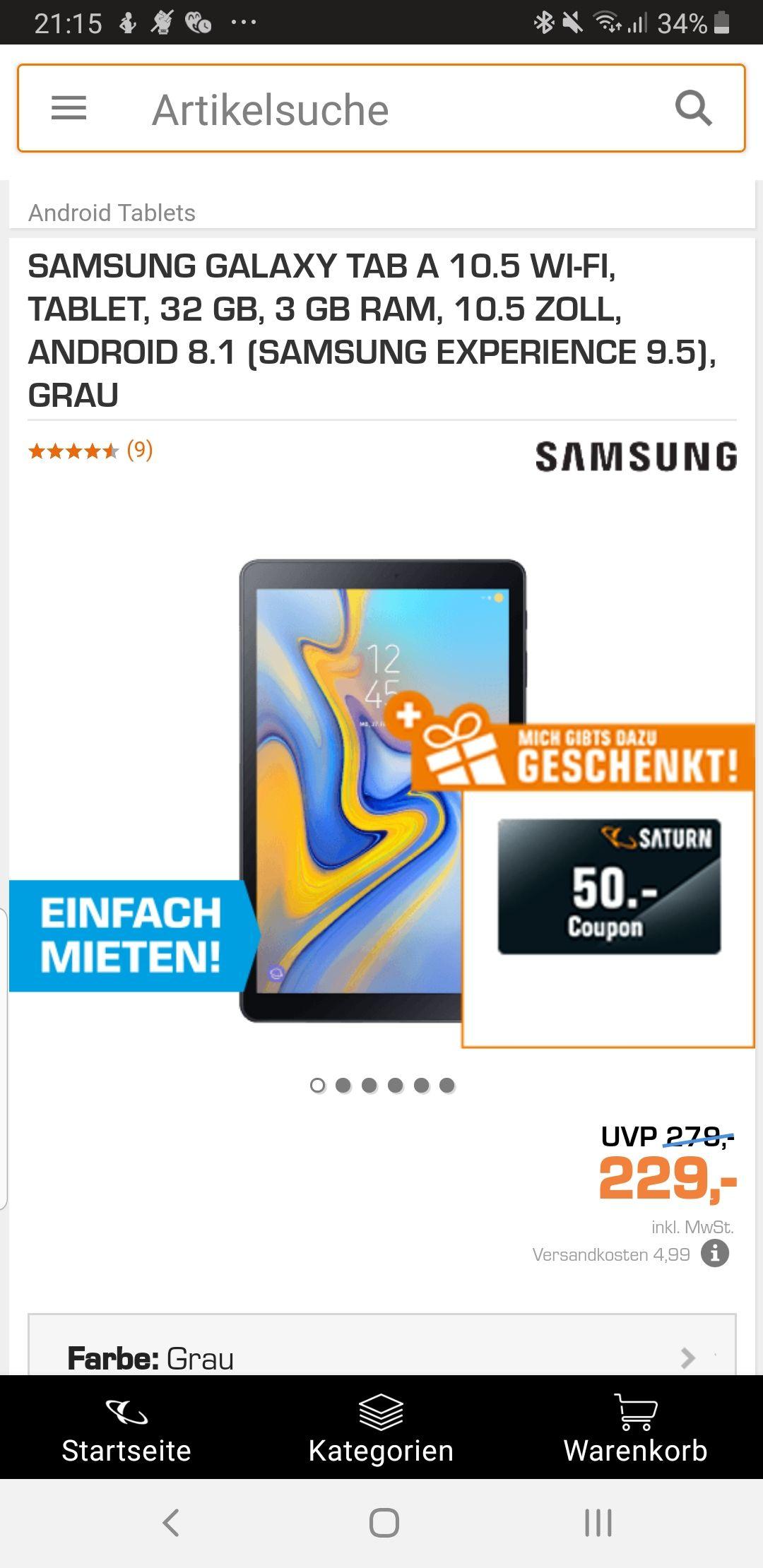 Samsung Tab A 10.5 (grau + Schwarz) + 50 Euro Saturngutschein