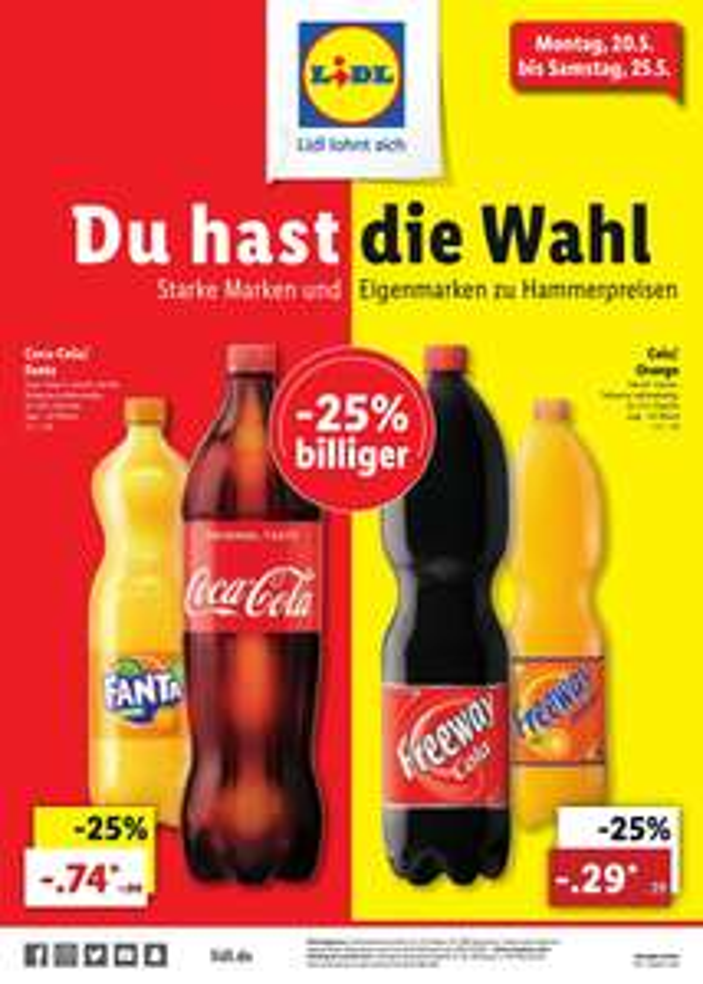 Coca-Cola oder Fanta, 1,25l Fl., für 74 ct / Freeway Cola oder Orange, 1,5l Fl., für 29 ct (jeweils zzgl. Pfand) @ Lidl ab 20.05.