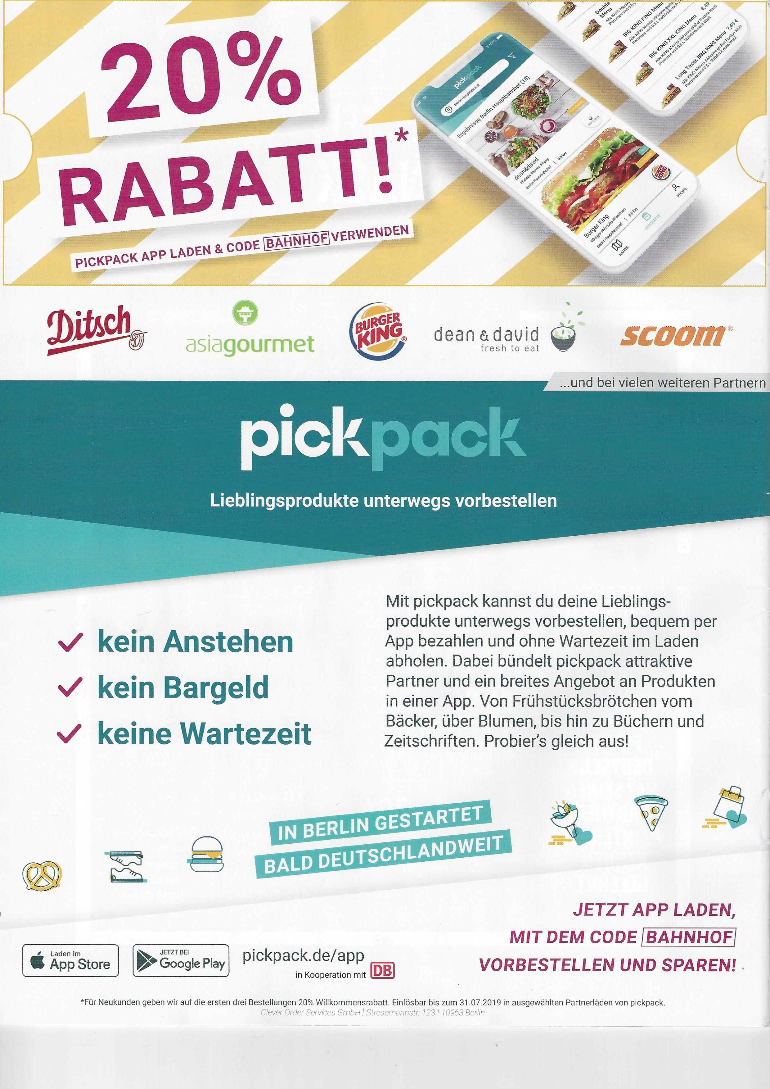 lokal Berlin: 3x 20% über die Pickpack App (Neukunden)