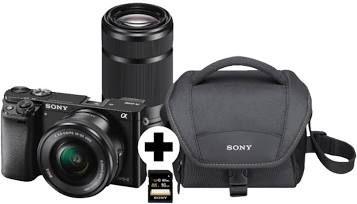 SONY Alpha 6000 Zoom+Telezoom KIT Systemkamera 24.3 Megapixel mit Objektiv 16-50 mm, 55-210 mm + Tasche und SD-Karte