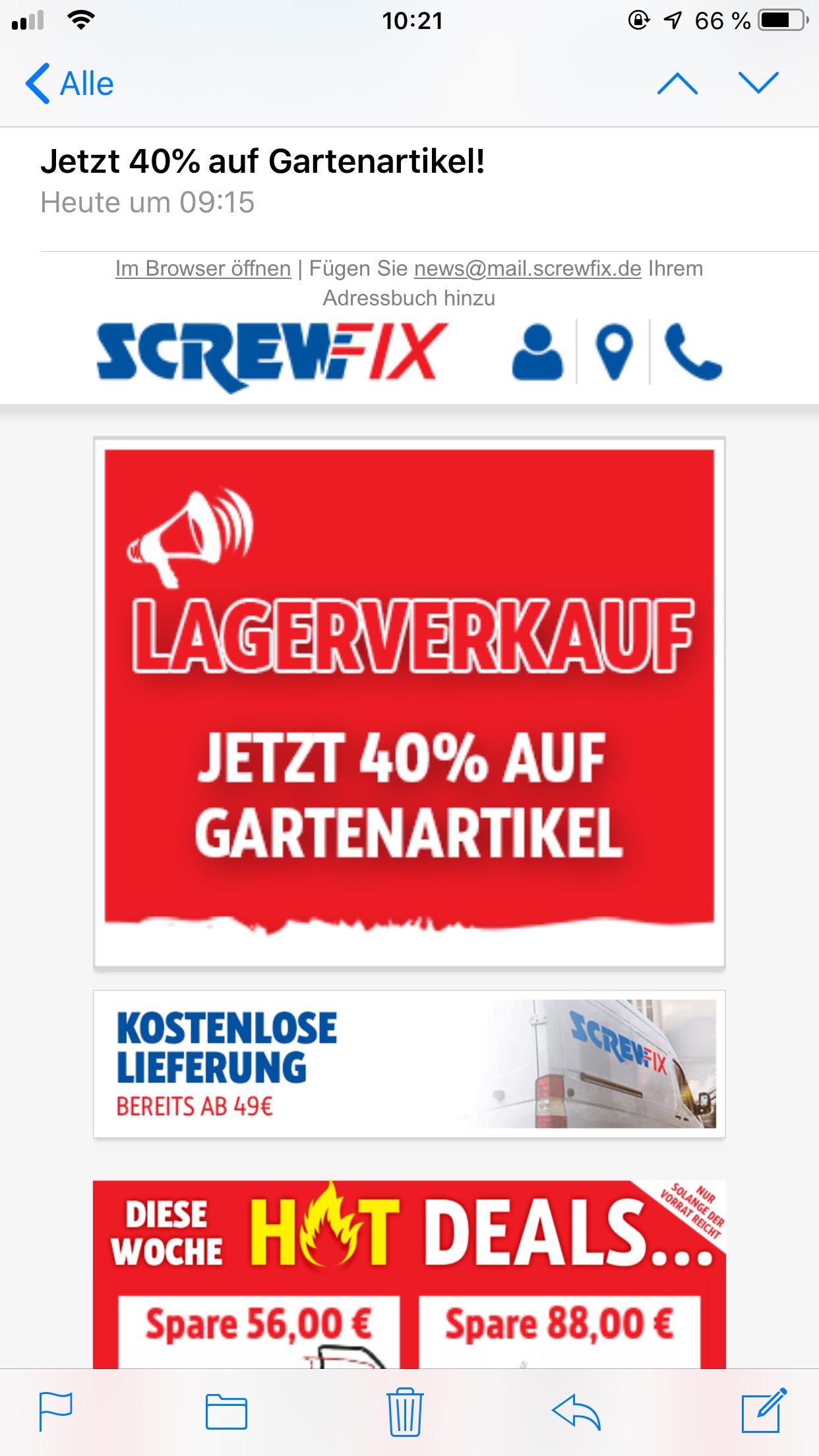 Screwfix nun auch 40% statt 20% auf Garten Artikel schnell sein!
