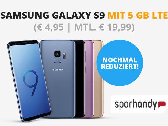 Samsung Galaxy S9 (64GB, Dual-SIM) für 4,95€ Zuzahlung im o2 Blue All-In M (5GB LTE, Allnet- & SMS-Flat) für mtl. 19,99€