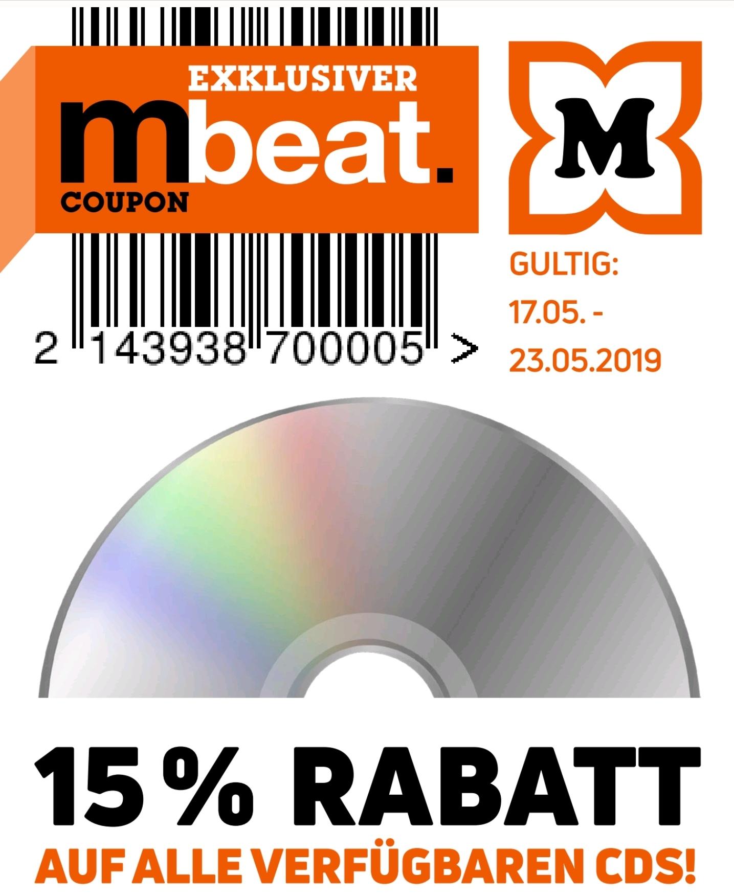 15% auf alle verfügbaren CDs [Offline Müller ab 17.05.]